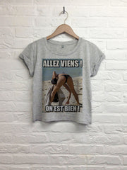 Allez viens on est bien - Crop top speckled grey-T shirt-Atelier Amelot