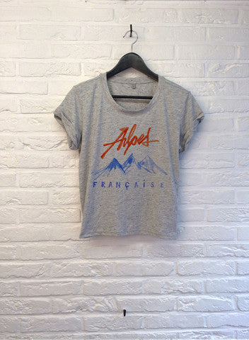 TH Gallery - Alpes Françaises - Crop top speckled Grey-T shirt-Atelier Amelot