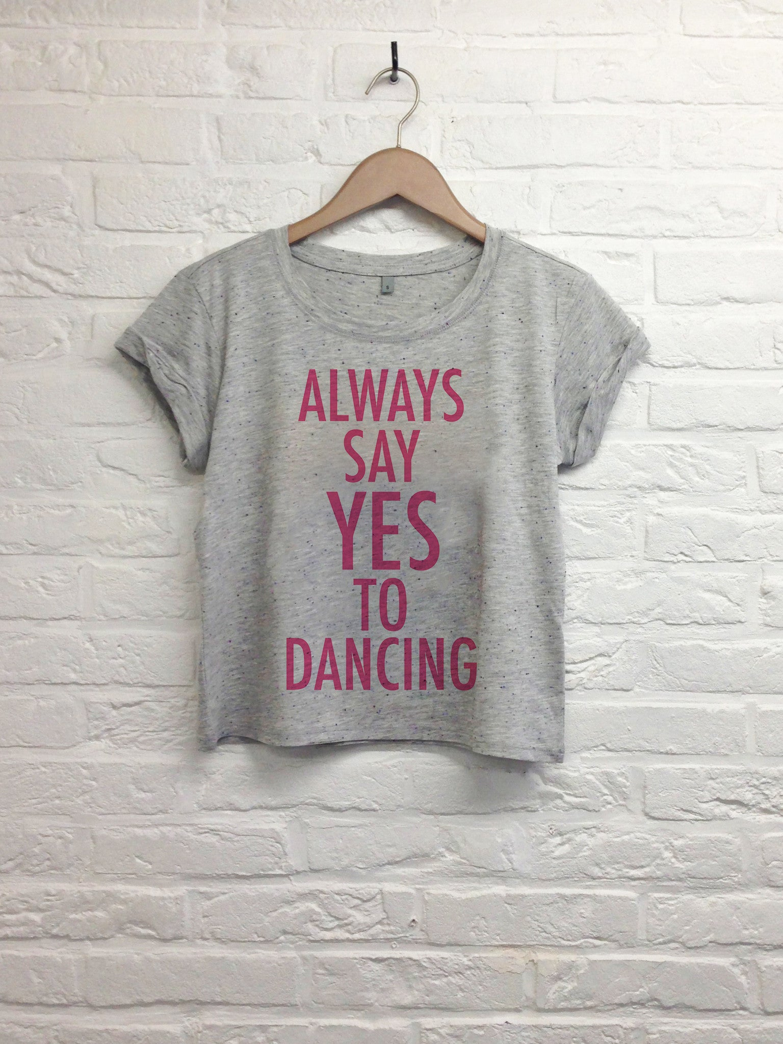 Always say yes to dancing - Crop top speckled grey-T shirt-Atelier Amelot