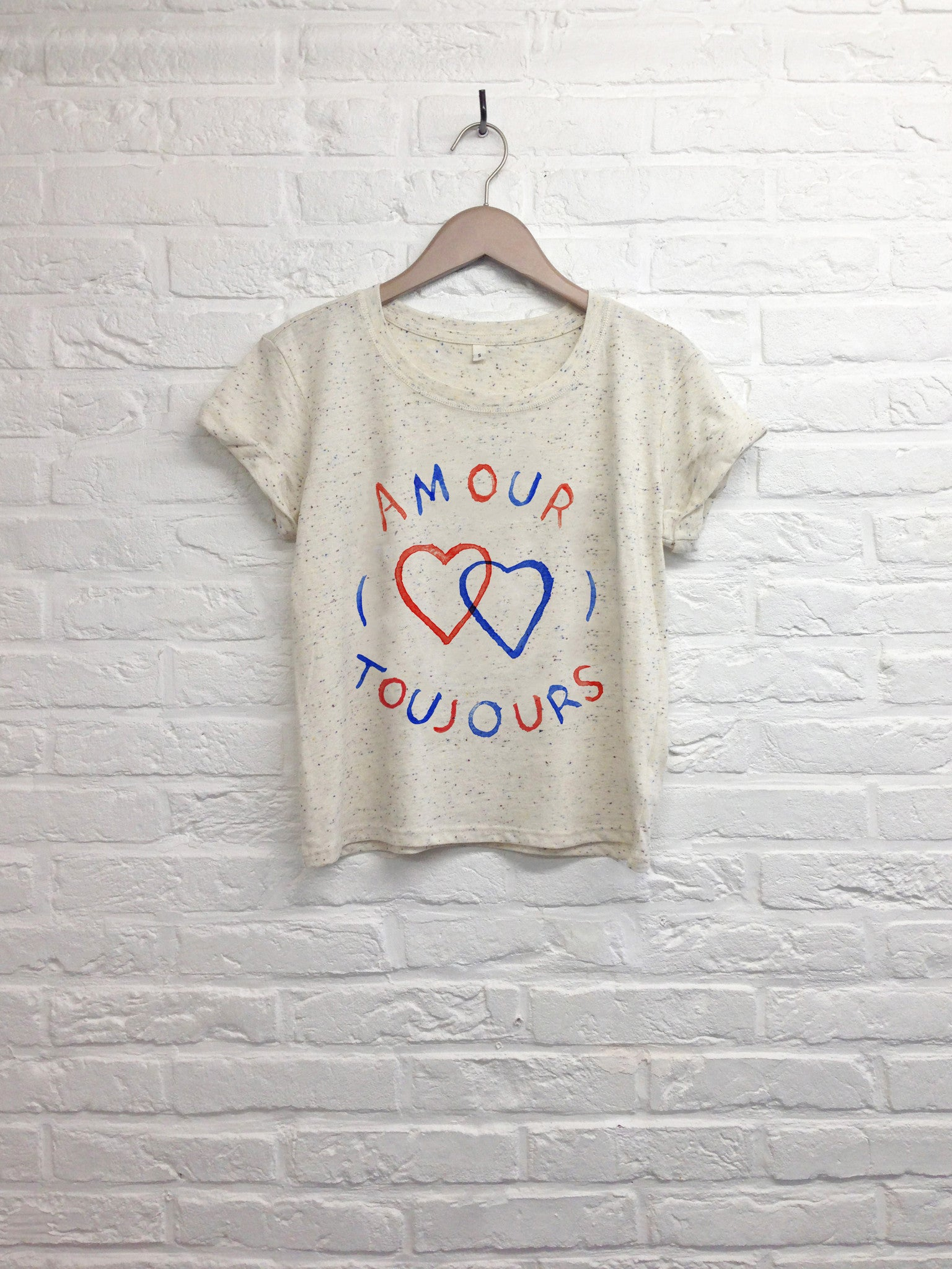 TH Gallery -  Amour Toujours - Crop top speckled Cream-T shirt-Atelier Amelot