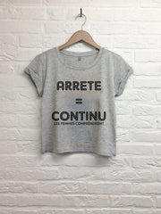 Arrete = continue - Crop top speckled grey-T shirt-Atelier Amelot