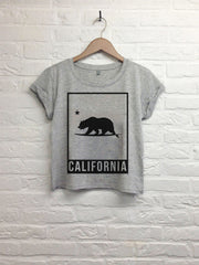 California bear cadre - Crop top speckled grey-T shirt-Atelier Amelot