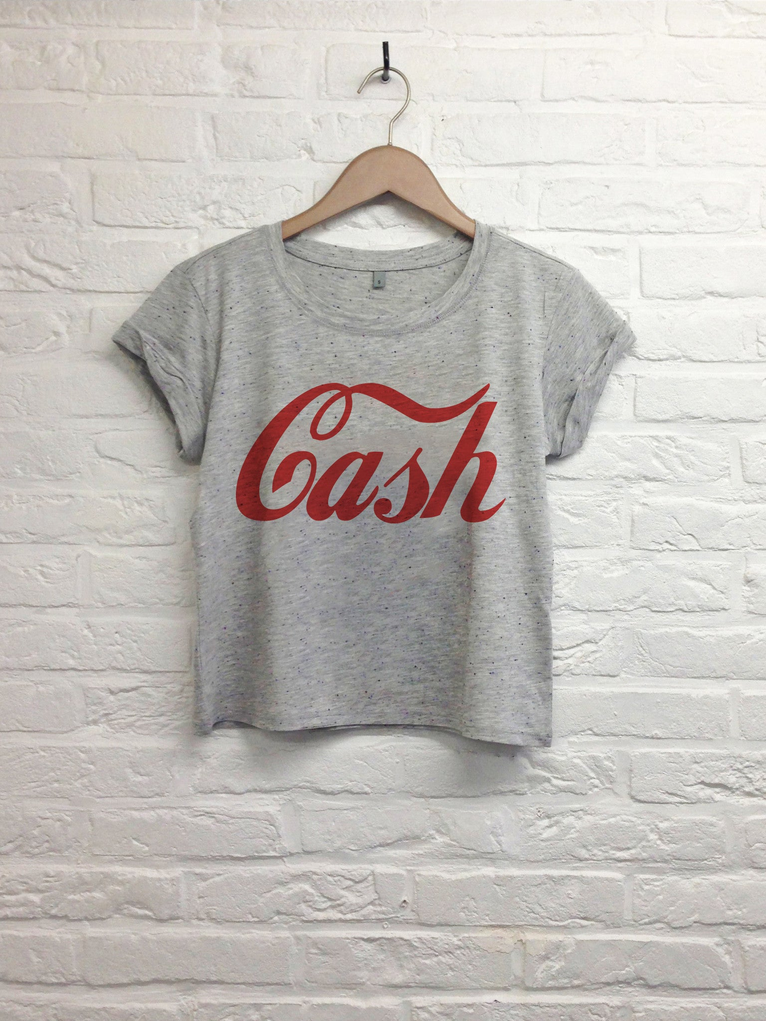 Cash - Crop top speckled grey-T shirt-Atelier Amelot