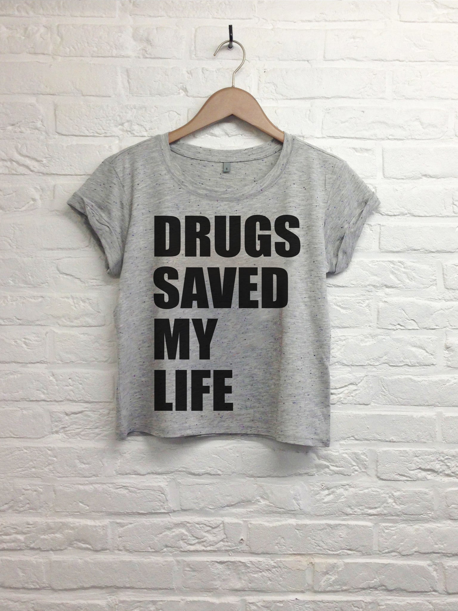 Drugs saved my life - Crop top speckled grey-T shirt-Atelier Amelot