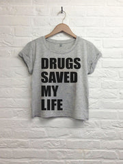 Drugs saved my life - Crop top speckled grey