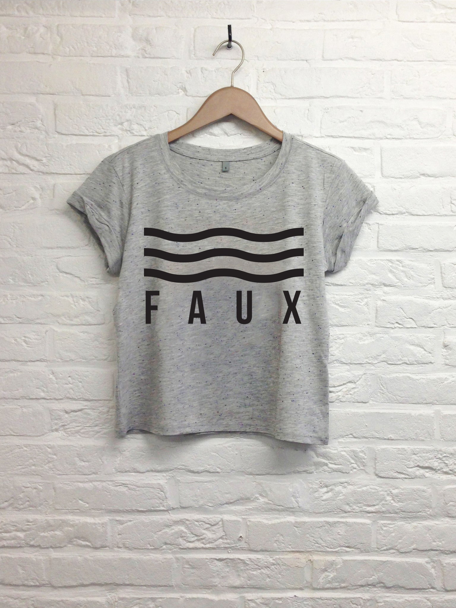 Faux vague - Crop top speckled Grey-T shirt-Atelier Amelot