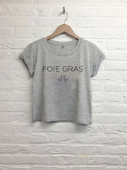 Foie gras - Crop top speckled grey-T shirt-Atelier Amelot