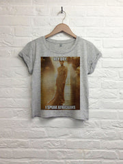 Hey boy I speak Africaans - Crop top speckled grey-T shirt-Atelier Amelot