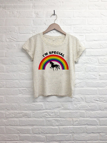 Licorne I'm special - Crop top speckled cream