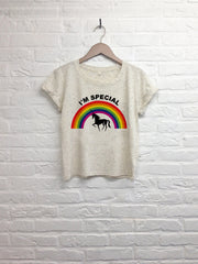 Licorne I'm special - Crop top speckled cream-T shirt-Atelier Amelot