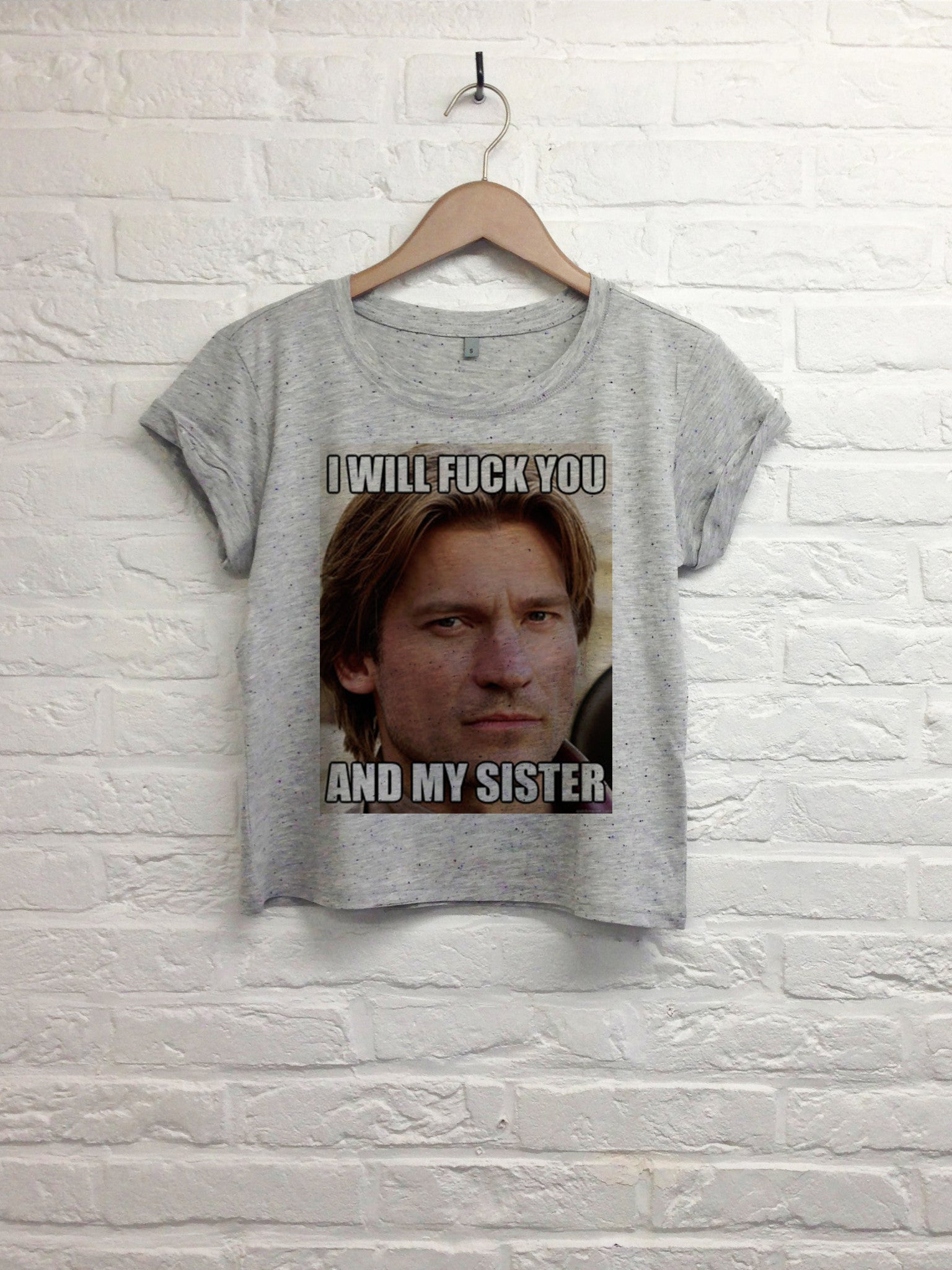I will fuck you and my sister - Crop top speckled grey-T shirt-Atelier Amelot