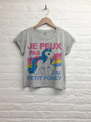 j'peux pas j'ai petit poney pastel - Crop top speckled grey-T shirt-Atelier Amelot