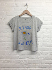 TH Gallery - Je t'aime à la Folie - Crop top speckled gris-T shirt-Atelier Amelot