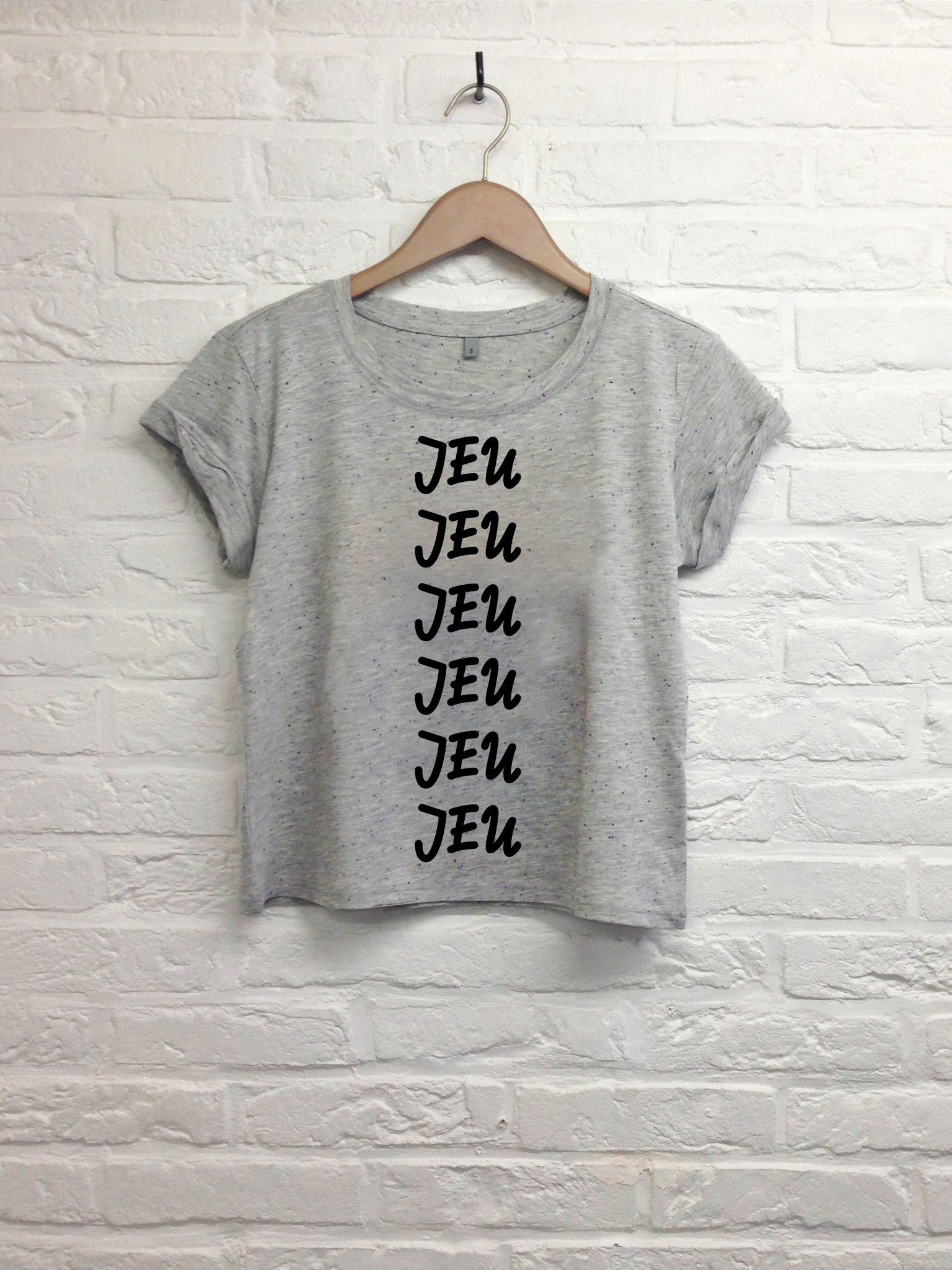 Jeu jeu jeu - Crop top speckled grey-T shirt-Atelier Amelot
