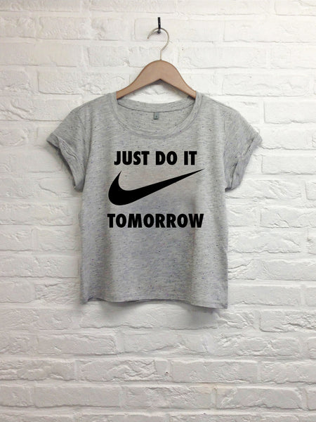 Just do it tomorrow  - Crop top speckled grey