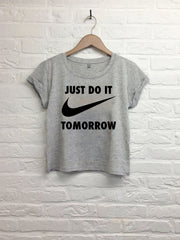 Just do it tomorrow - Crop top speckled grey-T shirt-Atelier Amelot