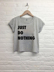 Just do it nothing - Crop top speckled grey-T shirt-Atelier Amelot
