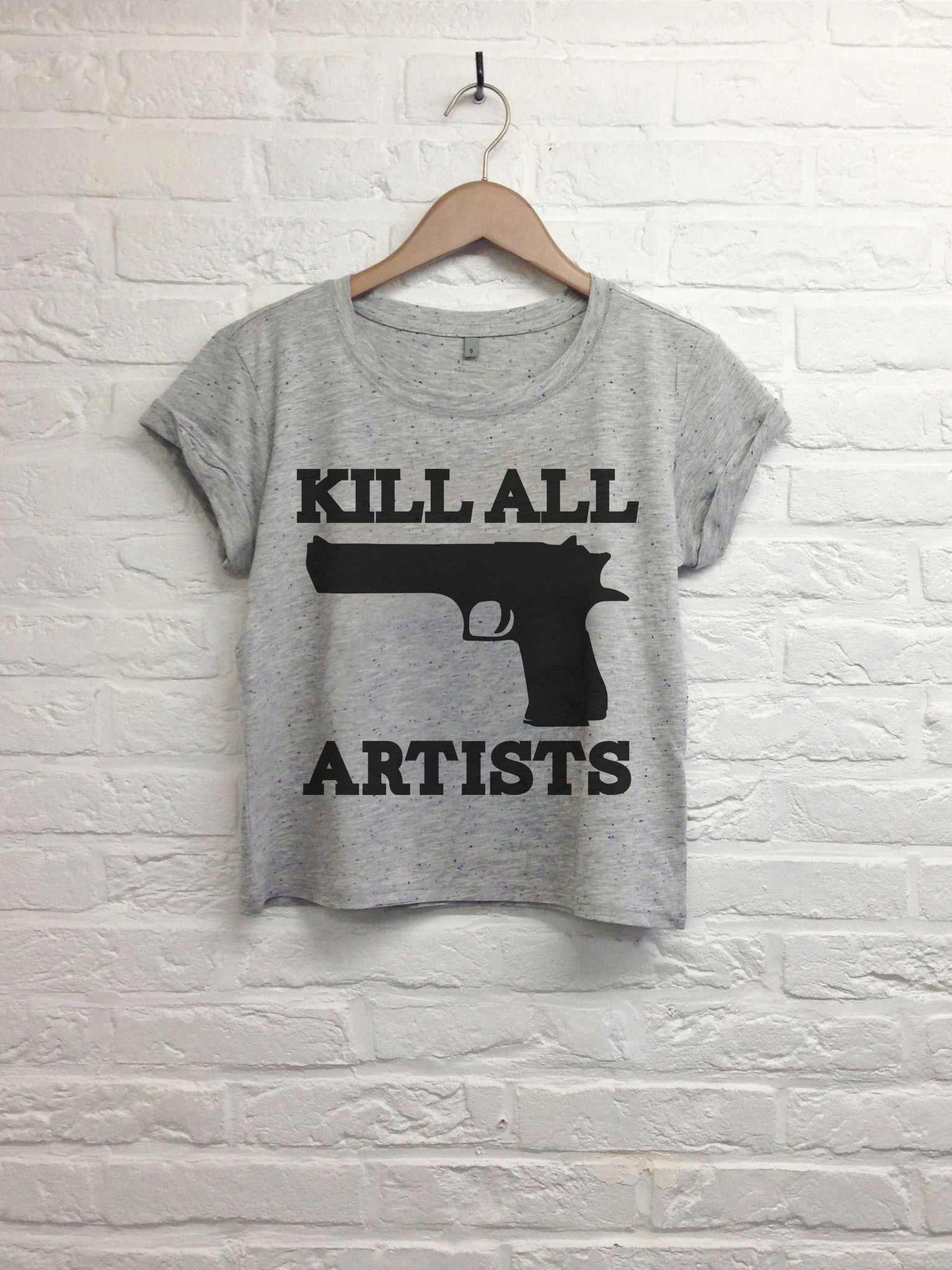 Kill all artists - Crop top speckled grey-T shirt-Atelier Amelot