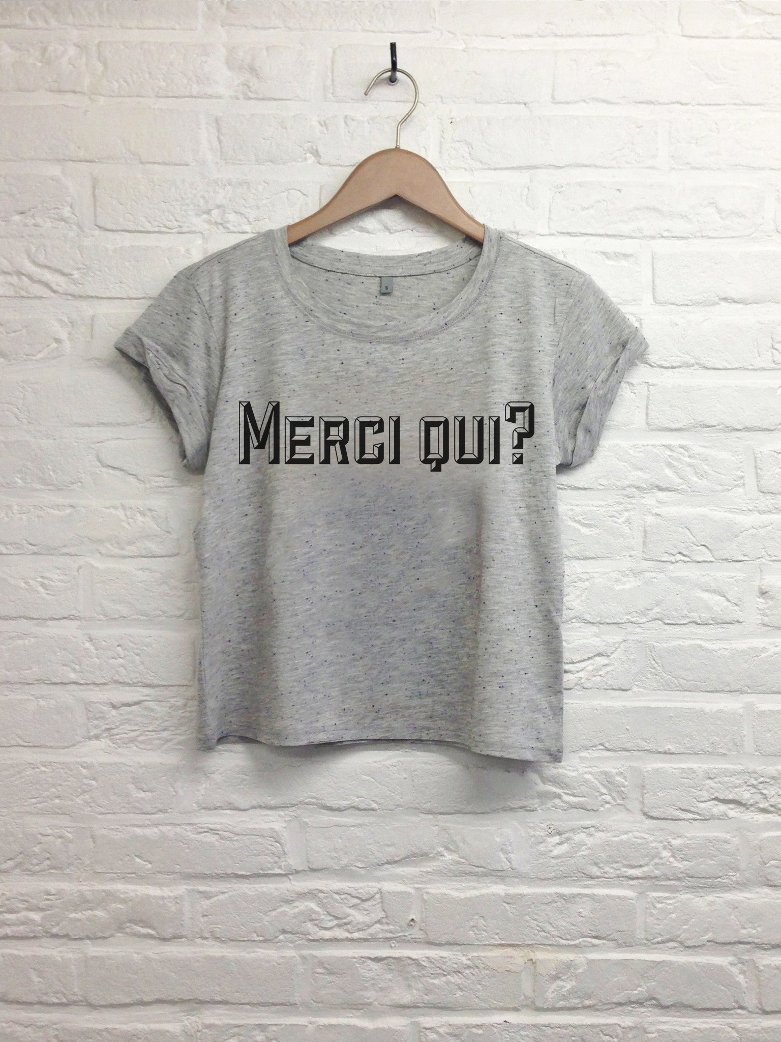 Merci qui - Crop top speckled grey-T shirt-Atelier Amelot