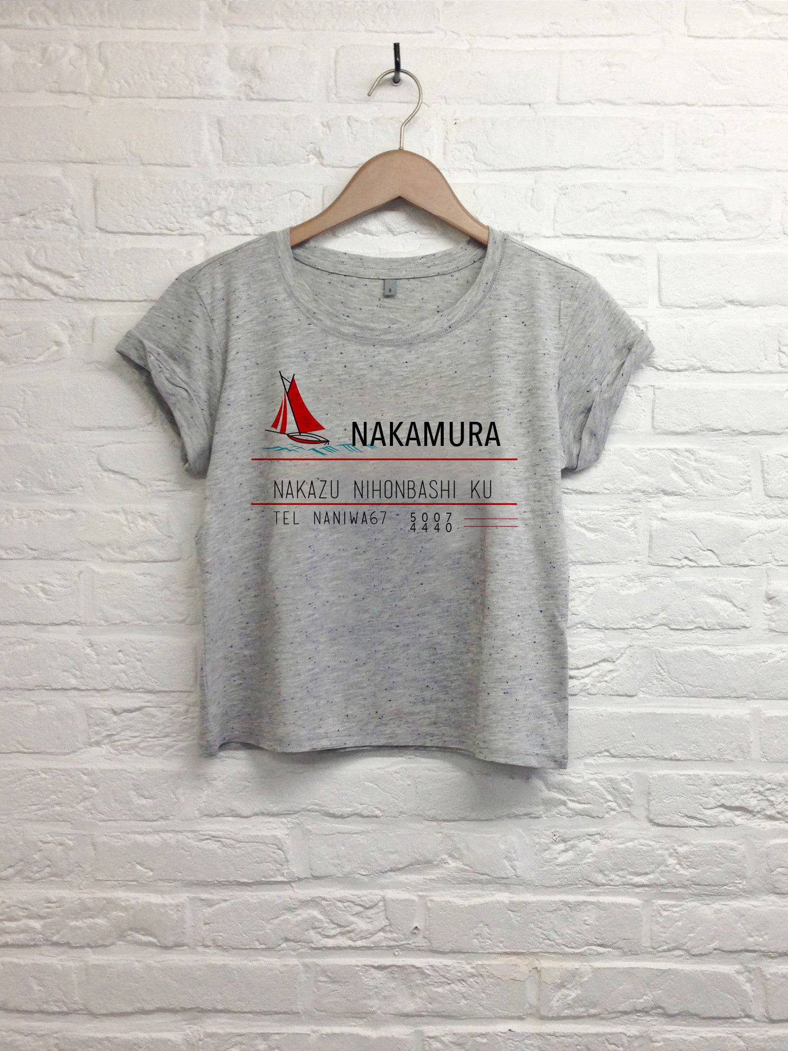 Nakamura - Crop top speckled grey