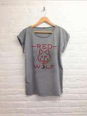 Neon red wolf  - Femme gris-T shirt-Atelier Amelot