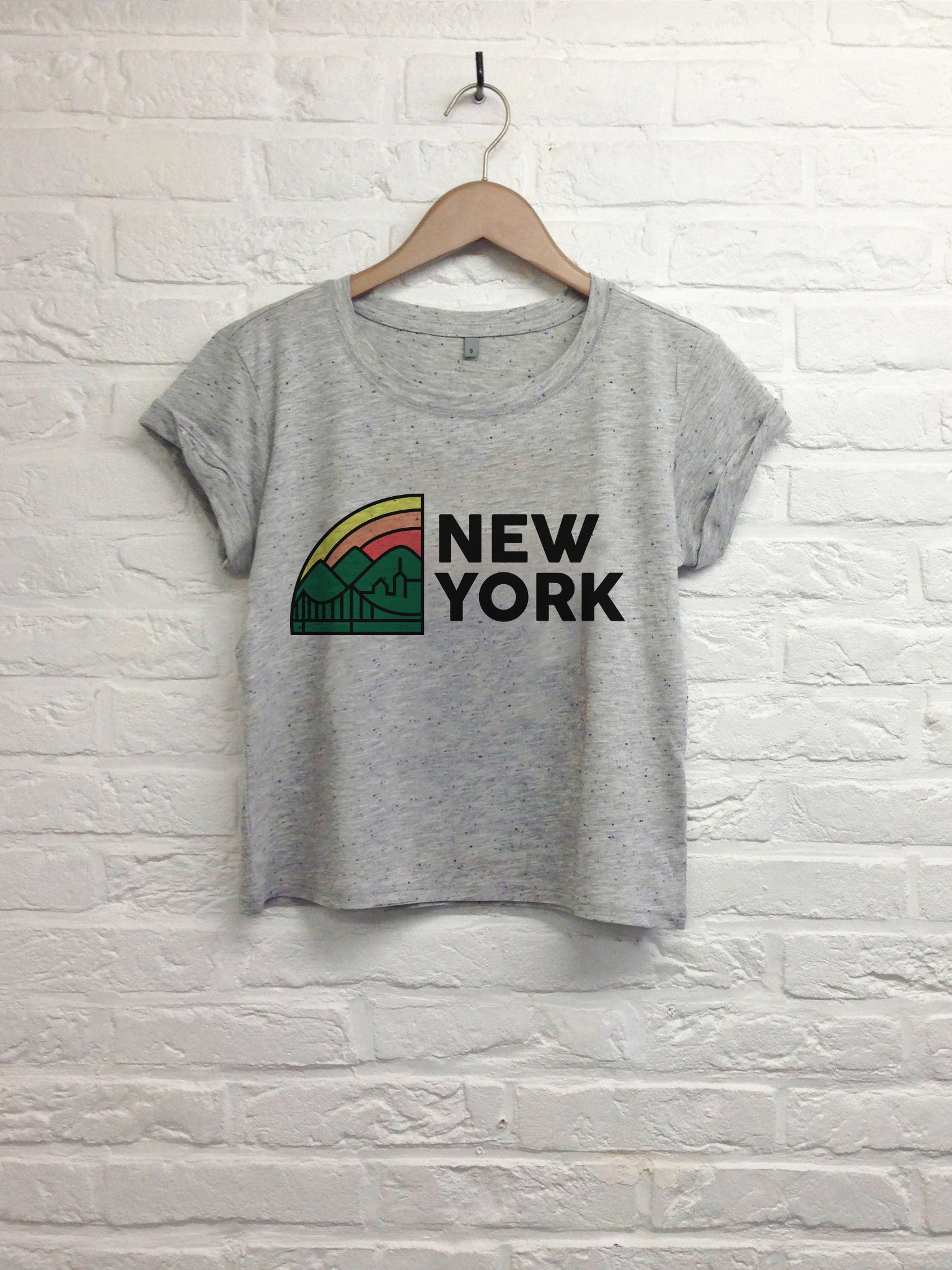 New york Rainbow - Crop top speckled grey-T shirt-Atelier Amelot