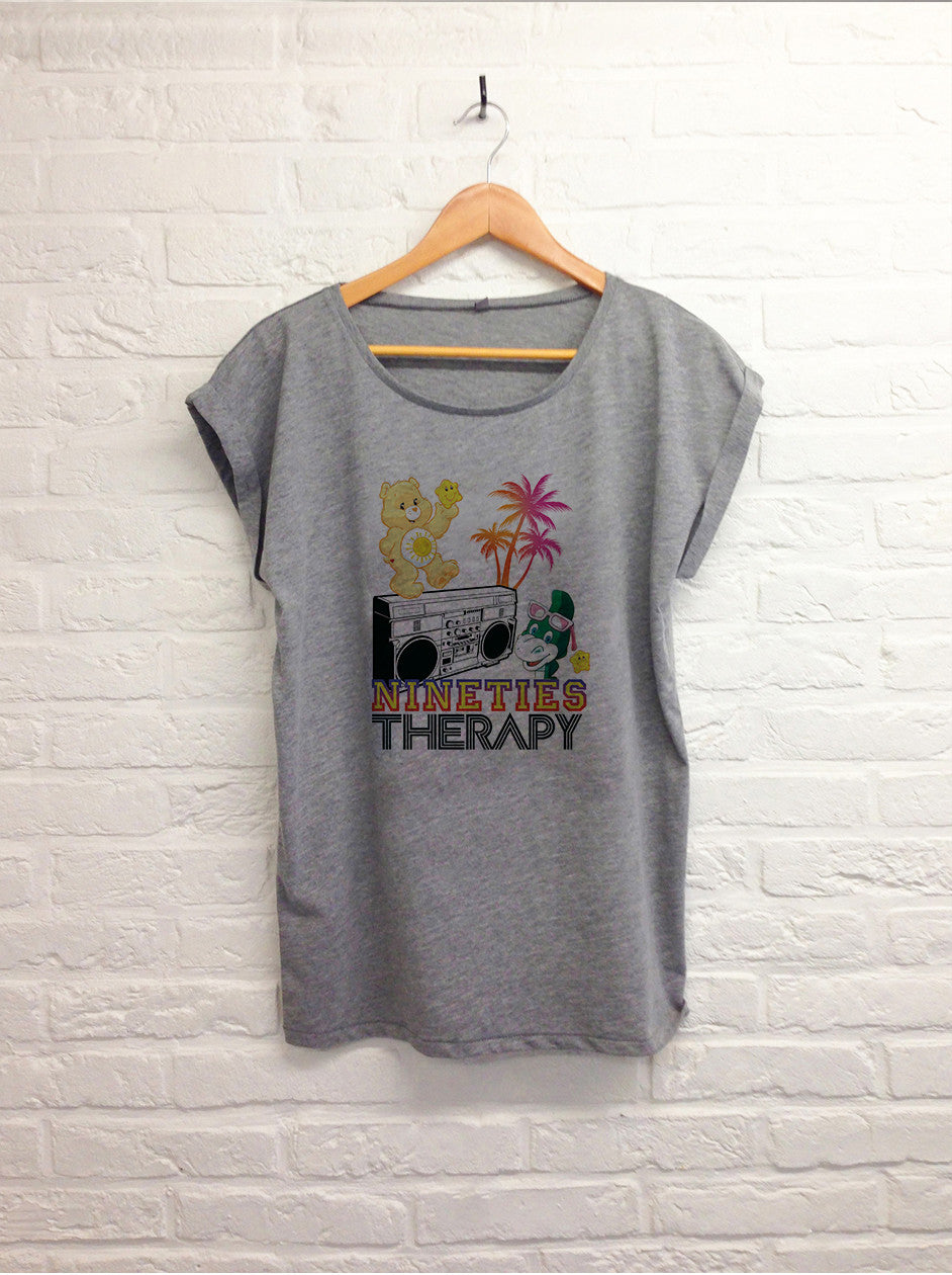 Nineties therapy - Femme Gris-T shirt-Atelier Amelot