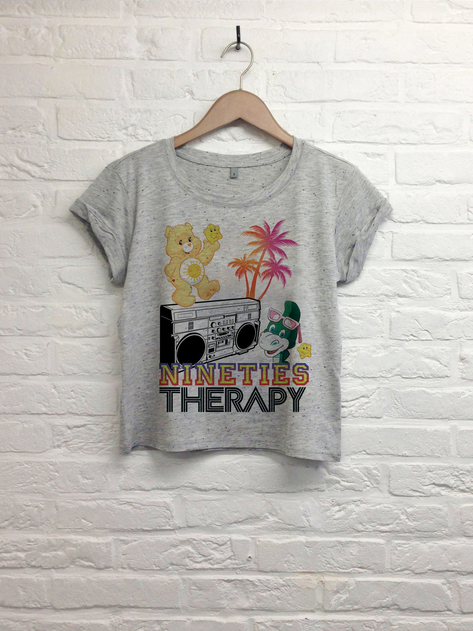 Nineties Therapy - Crop top speckled grey-T shirt-Atelier Amelot