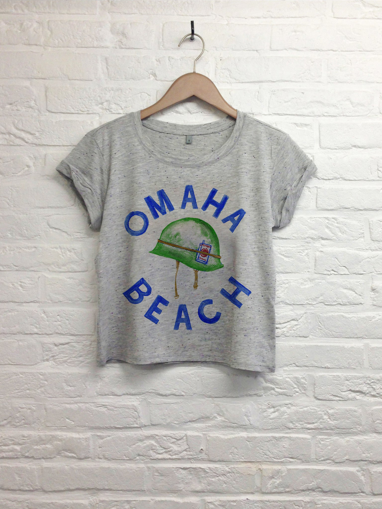 Th gallery - Omaha beach - Crop Top speckled Grey-T shirt-Atelier Amelot