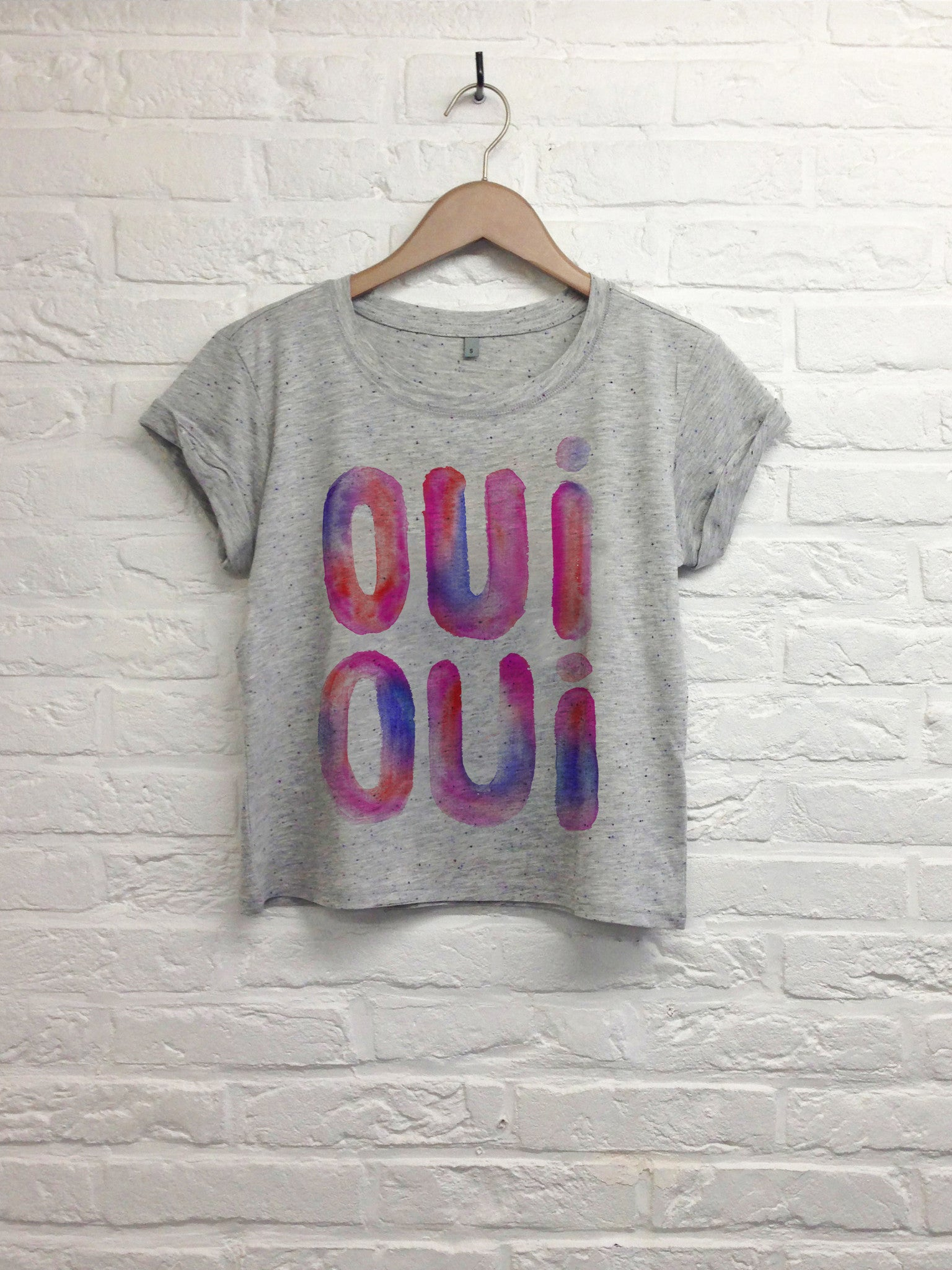 TH Gallery - Oui oui  - Crop top speckled gris-T shirt-Atelier Amelot
