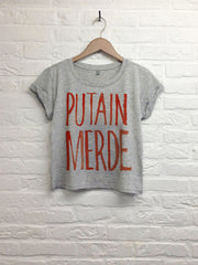 Putain Merde - Crop top speckled grey-T shirt-Atelier Amelot