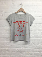 Red Wolf - Crop top speckled gris-T shirt-Atelier Amelot