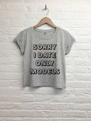 Sorry i date only models - Crop top speckled grey-T shirt-Atelier Amelot