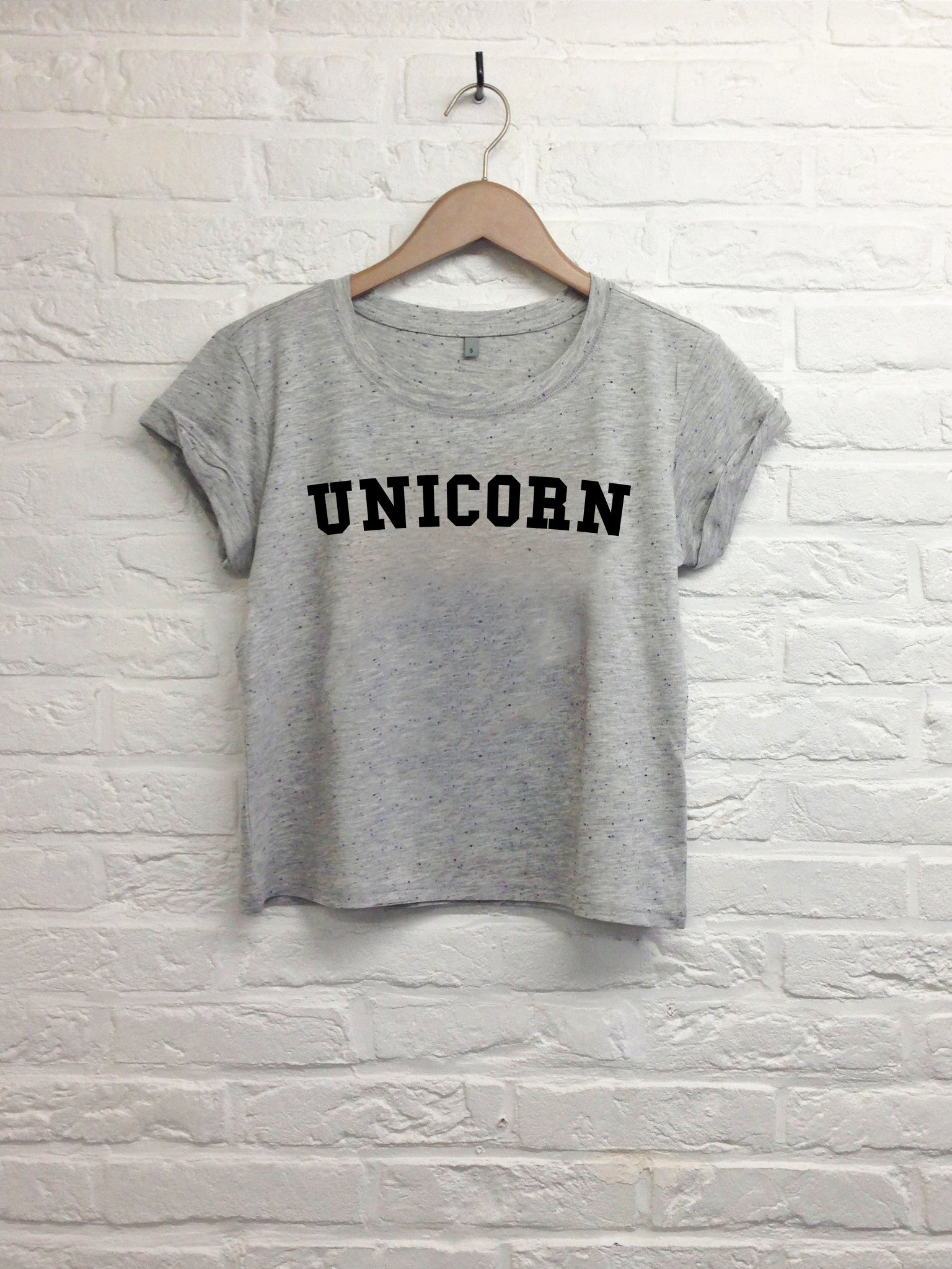 Unicorn - Crop Top speckled Grey-T shirt-Atelier Amelot