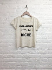 Embrasse moi si tu es riche - Crop Top speckled cream-T shirt-Atelier Amelot