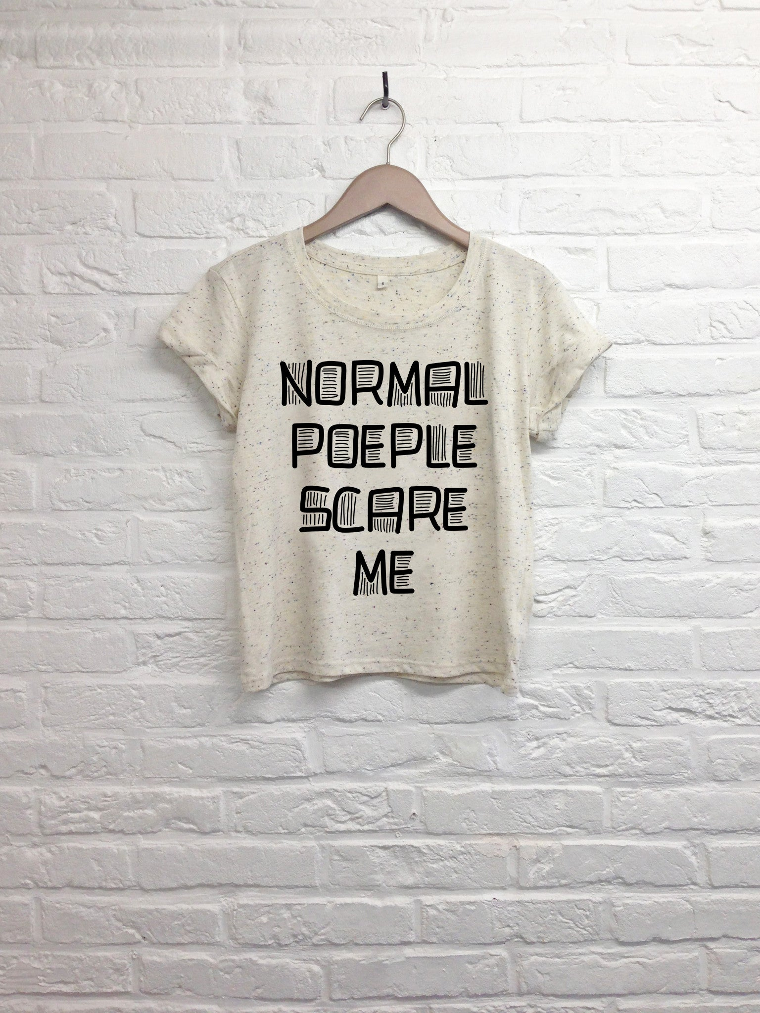Normal people scary me - Crop Top Cream-T shirt-Atelier Amelot