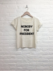 Nobody for President - Crop Top speckled Cream-T shirt-Atelier Amelot