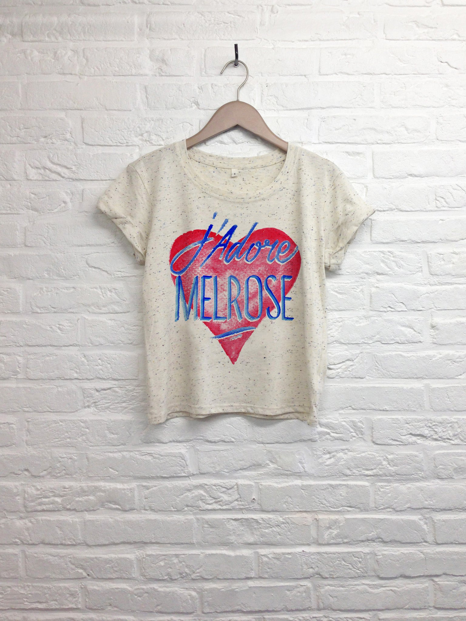 TH Gallery - J'adore Melrose - Crop Top speckled Cream-T shirt-Atelier Amelot