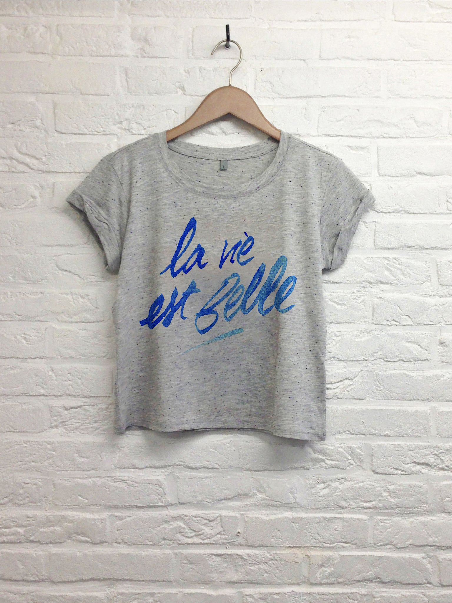TH Gallery - La vie est belle - Crop Top speckled Grey-T shirt-Atelier Amelot