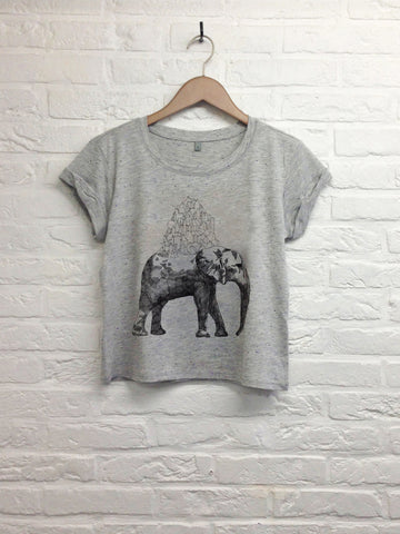 Elephant - Crop Top speckled grey-T shirt-Atelier Amelot