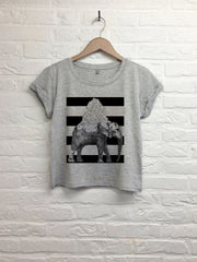 TH Gallery - Elephant bandes noires - Crop Top speckled Grey-T shirt-Atelier Amelot