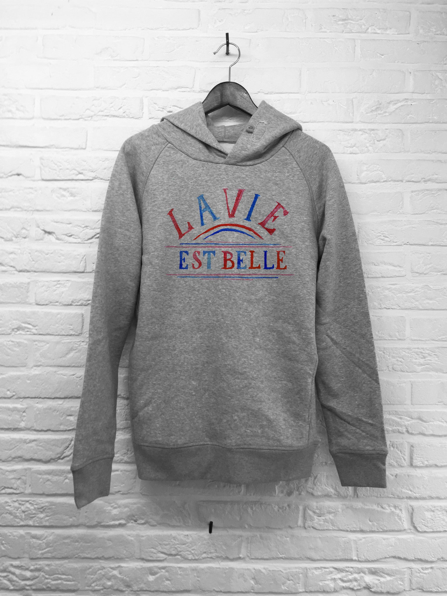 TH Gallery - La vie est belle (bleu rouge) - Hoodies Deluxe Creme gris