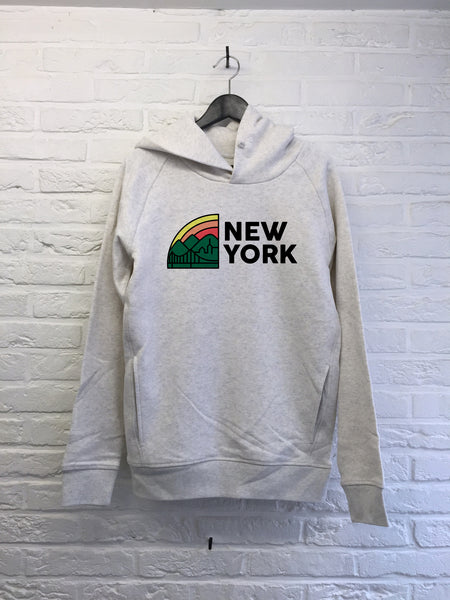 New York Rainbow - Hoodie Deluxe Creme chine