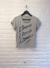 TH Gallery - L'amour L'amour L'amour (Noir) - Crop top speckled Grey-T shirt-Atelier Amelot