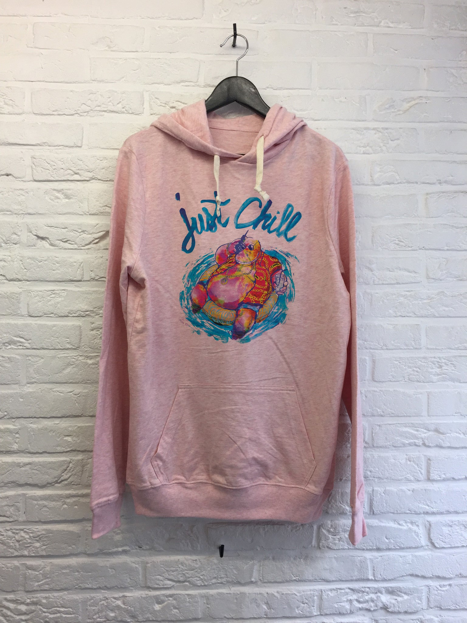 TH Gallery - Hippo Just chill - Hoodie Explore cream Pink