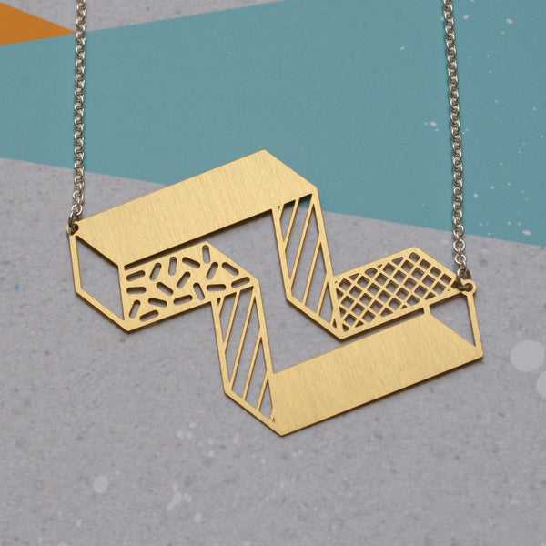 3d block necklace - brass