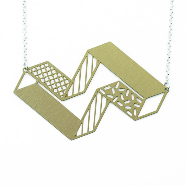 3d block necklace brass on white