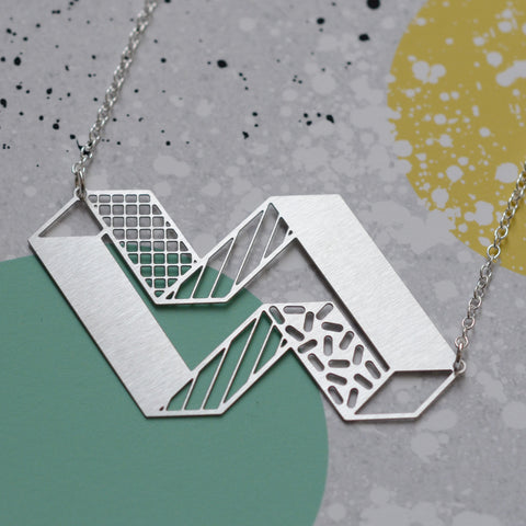 3d block necklace - steel