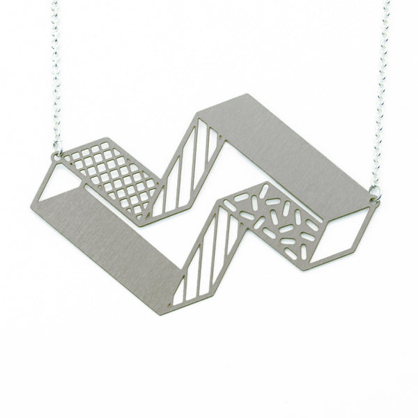 3d block necklace - steel on white