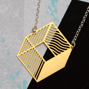 3d cube necklace - brass